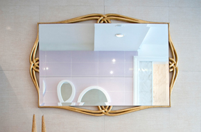 Beautiful square shape mirror on the wall