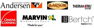 Andersen, Larson, Therma Tru Doors, Owens Corning, Marvin Windows and Doors and Bertch logos