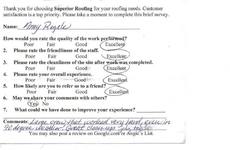 Superior Roofing Testimonials Portland Or Roof Work