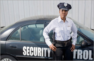Security guard with patrol vehicle