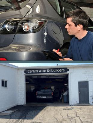 A man cheking a damaged car
