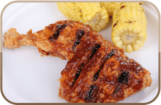 Barbeque chicken and corn on the cob
