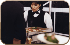 Waitresses serving food