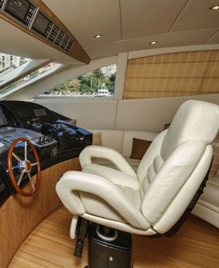 Interior of a boat with upholstery