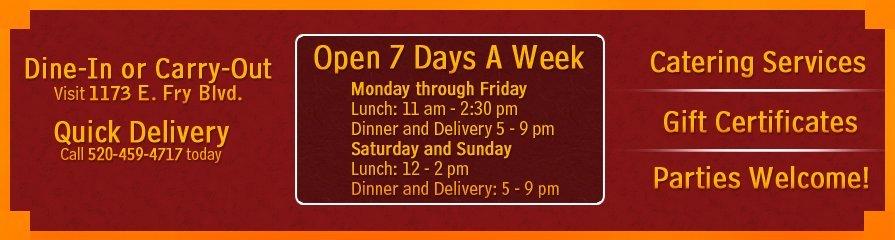 Golden Phoenix - Lunch and Dinner Menu - Sierra Vista, AZ