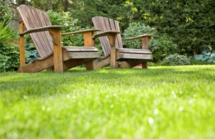 Two wooden chairs and lawn