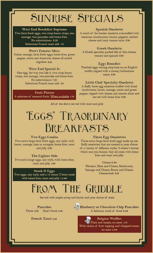 Breakfast Menu | Coatesville, PA | The Little Chef Family Restaurant | 610-384-3221