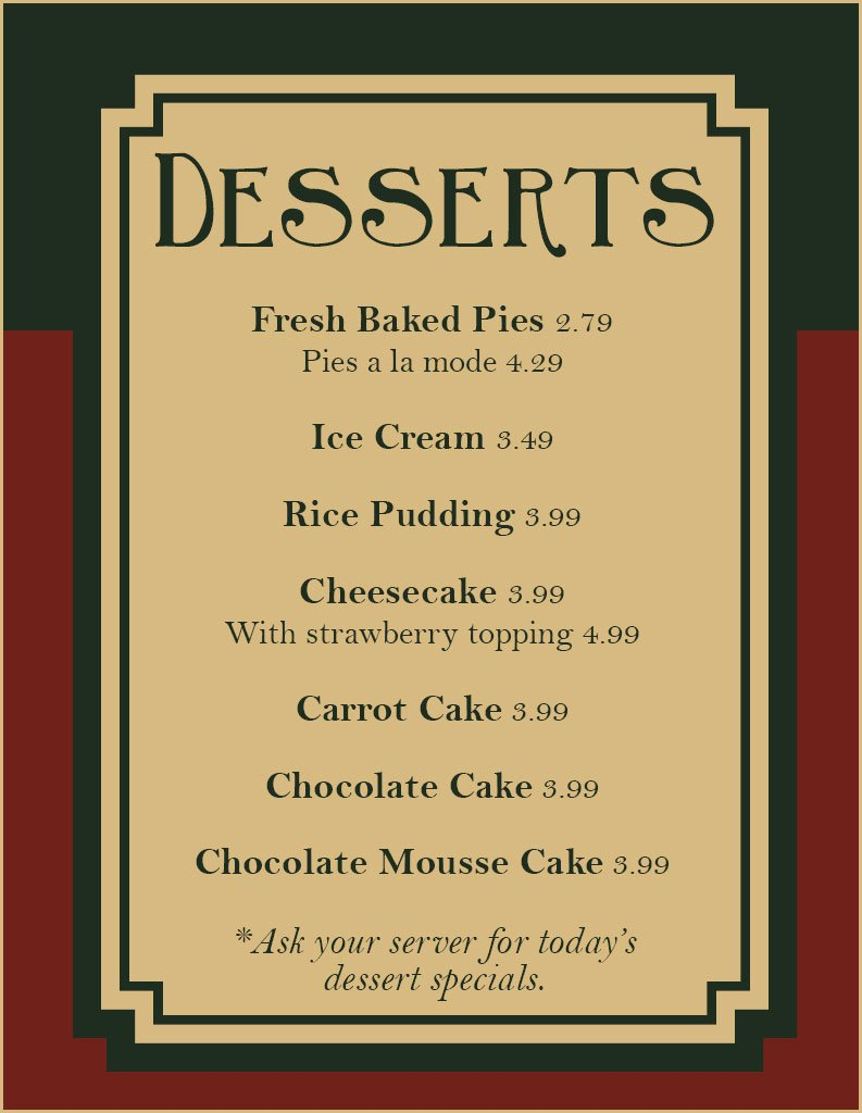 Dessert Menu | Coatesville, PA | The Little Chef Family Restaurant | 610-384-3221